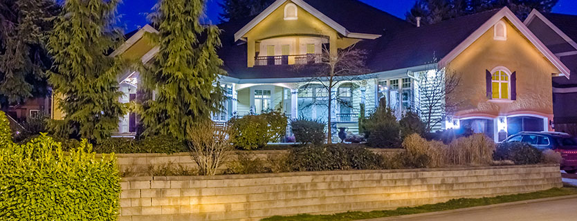 Home landscape tiered wall and lights